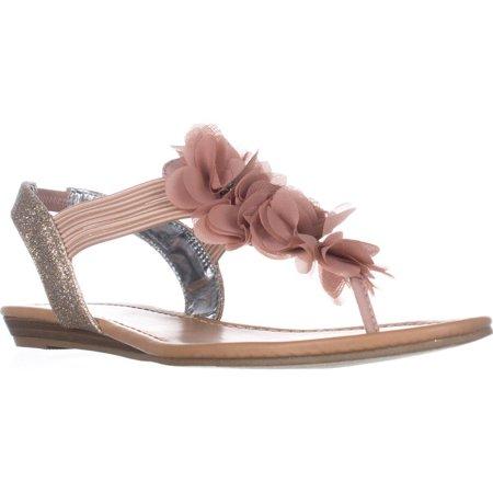 Womens MG35 Sari Flower T-Strap Sandals, Light Pink/Pastel -