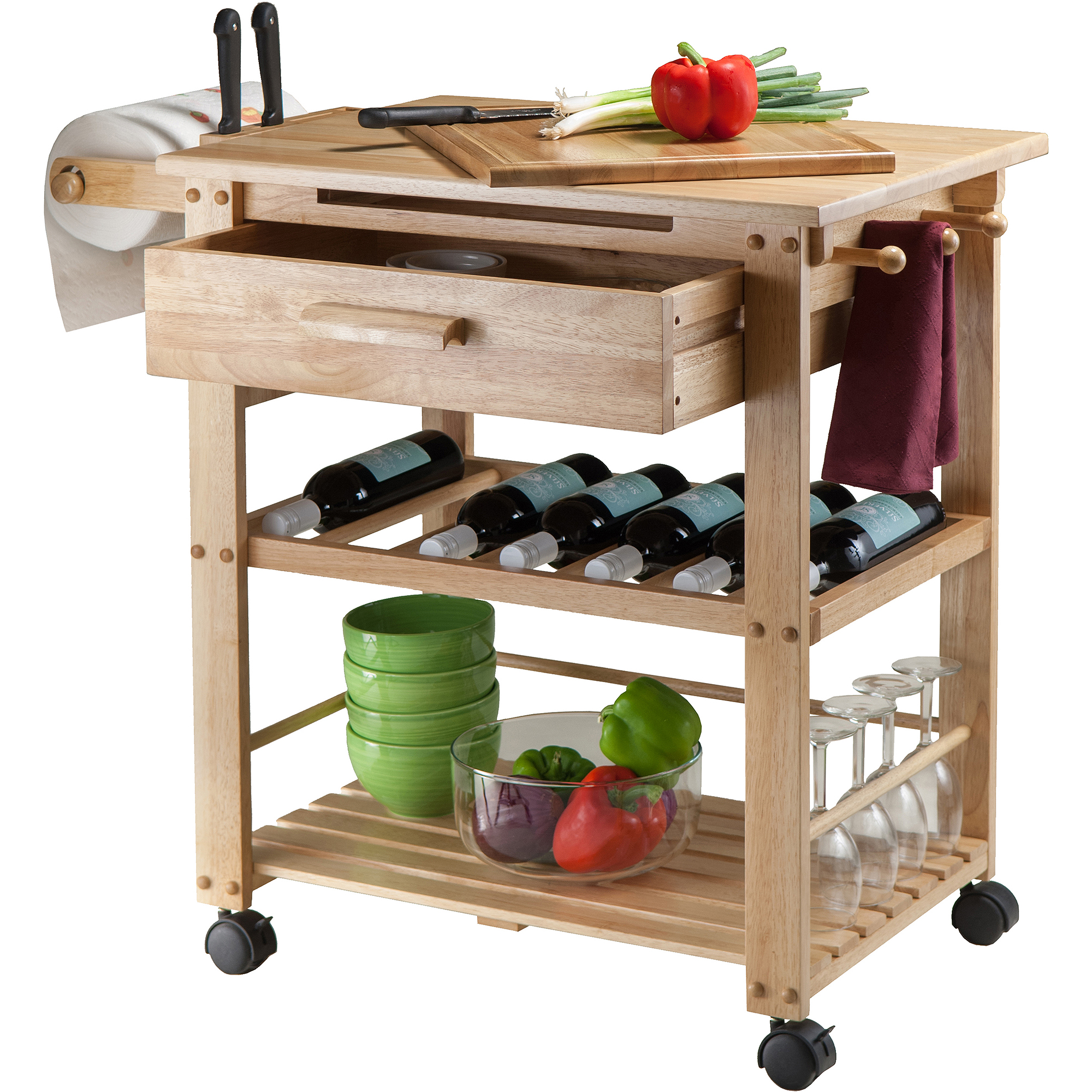 Finland Kitchen Cart Natural Walmart
