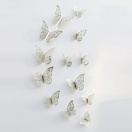 Wedding Wall Decor (12pcs/set 3D Butterfly Wall Stickers Removable Mural Stickers DIY Art Wall Decals Decor with Glue for Bedroom Wedding)