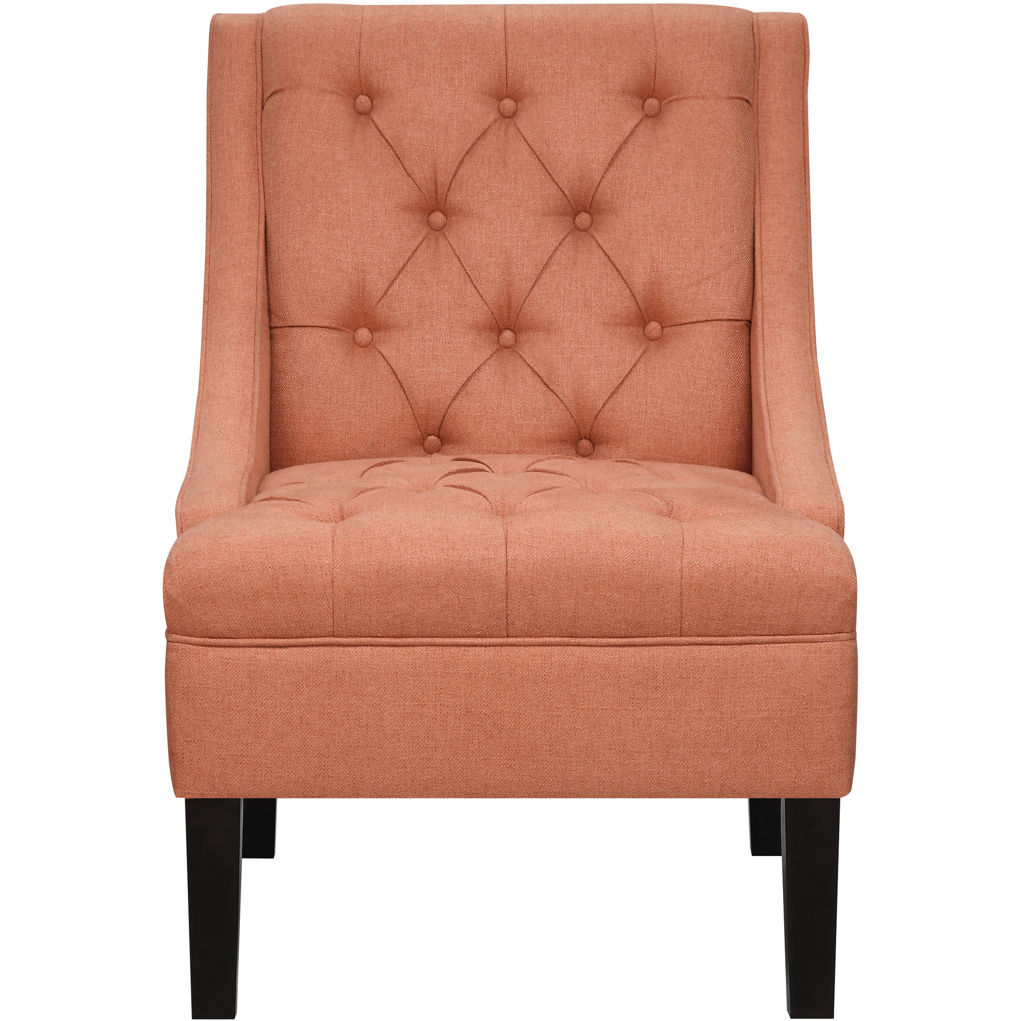 Scoop Arm Button Tufted Accent Chair in Sateen Salmon