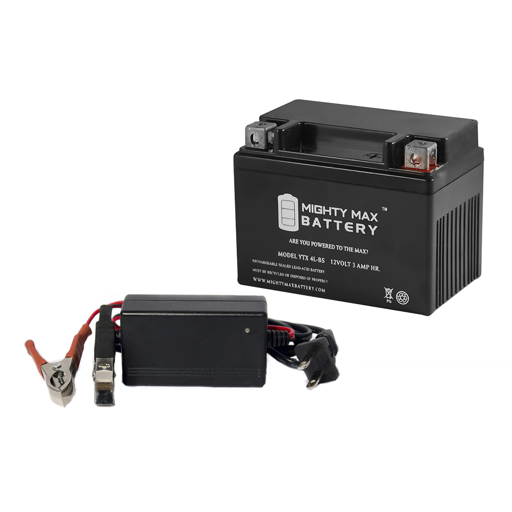 YTX4L-BS Battery for Power Sport + 12V 1Amp Charger by Mighty Max Battery