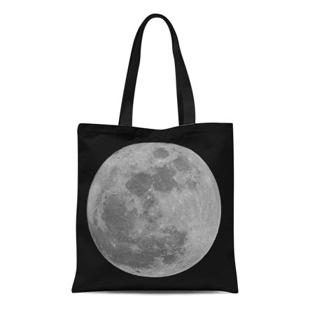 NUDECOR Canvas Bag Resuable Tote Grocery Shopping Bags Astronomical Full Moon on Black Astronomy Beauty Nature Crater Dark Detail Tote Bag - image 1 de 1