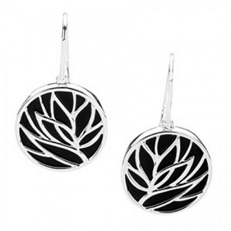 Sterling Floral Earrings - Onyx Floral Dangle Earrings - Sterling Silver