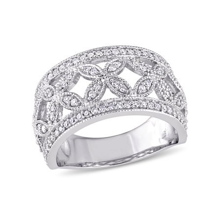 Miabella 1/2 Carat T.W. Diamond 14k White Gold Vintage Floral Ring