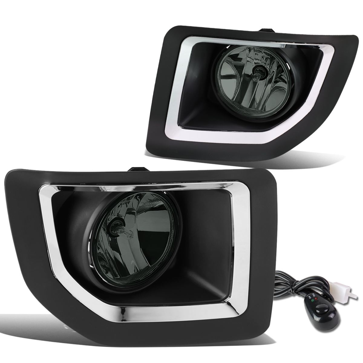 For 15-16 GMC Sierra 2500HD 3500HD Front Bumper Driving Fog Light/Lamp+Switch Smoked Lens Left+Right