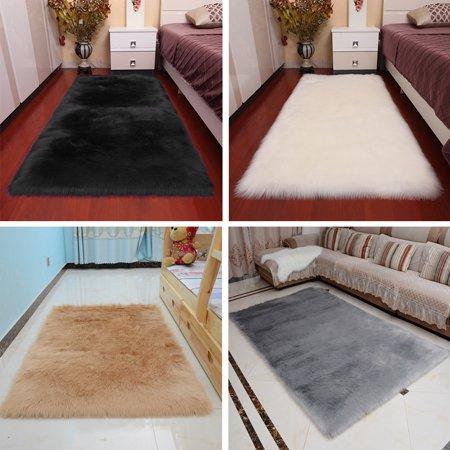60*120 White Woolen Bedside Room Carpets Bedroom Imitation Wool Area Rugs  Floating Window Long Hair Mat Living Room Window Nursery Rugs, Black