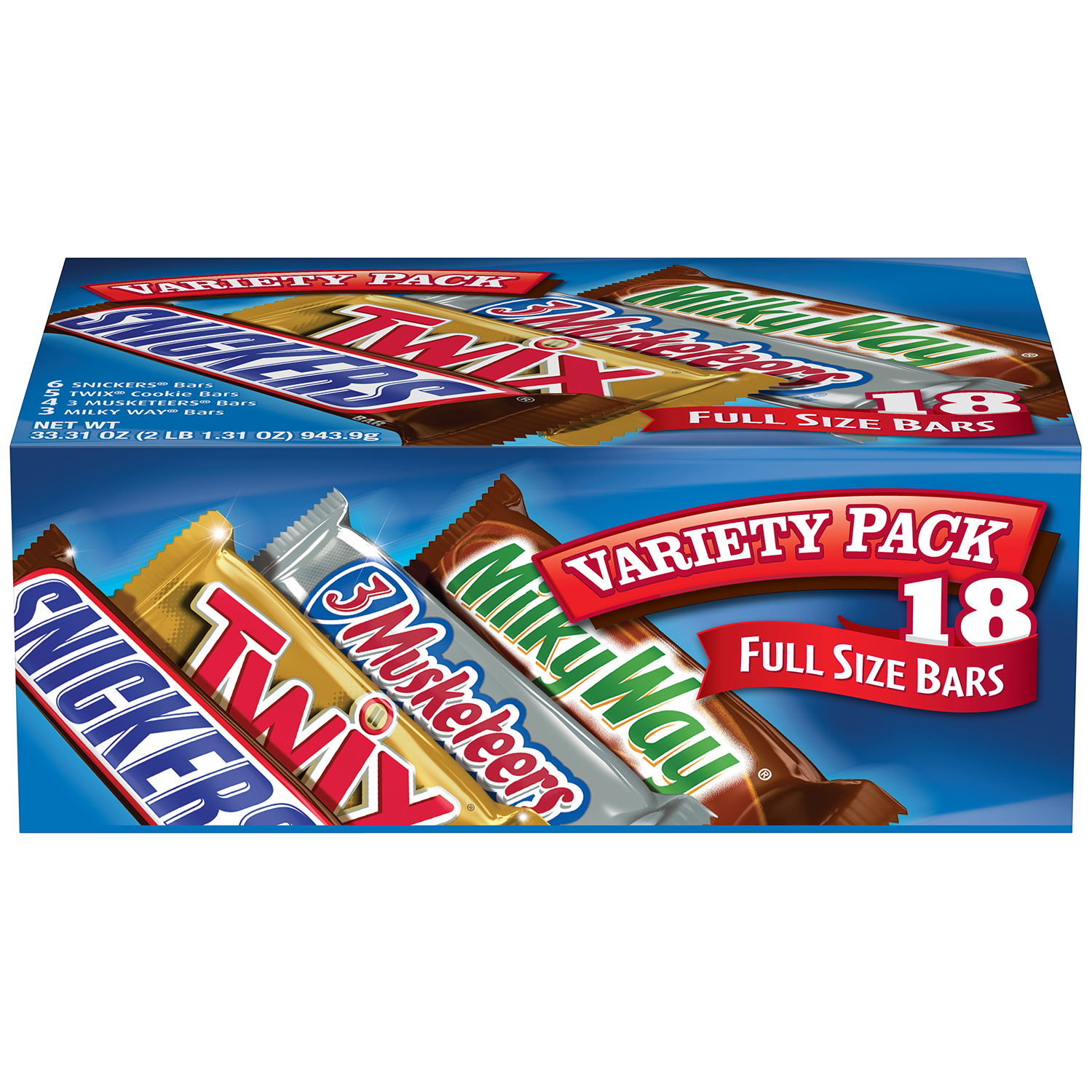 MARS Chocolate Full Size Candy Bars Assorted Variety Box (TWIX, MILKY WAY, SNICKERS, 3 MUSKETEERS Brands), 33.31 oz 18 Pieces