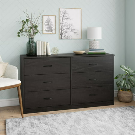 Mainstays Classic 6 Drawer Dresser, Black Oak Finish ()