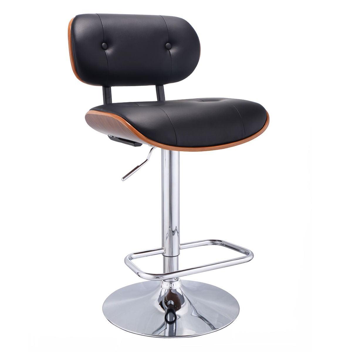 Adjustable Swivel Bentwood Bar Stool PU Leather Tufted Bar Stool Pub Chair by Apontus