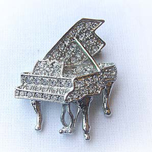 Platinum-Plated Swarovski Crystal Grand Piano Design Brooch Pin by