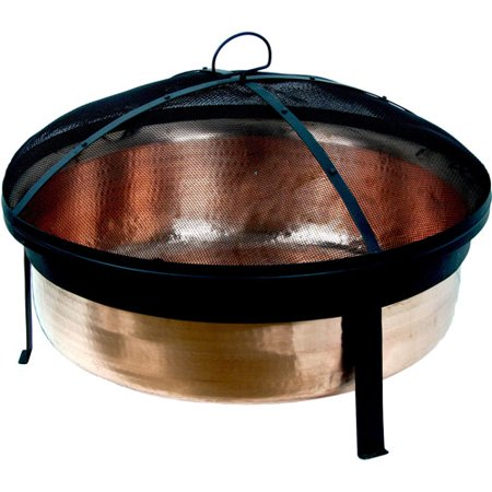 CobraCo Hand Hammered 100 percent Copper Fire Pit with Screen and Cover