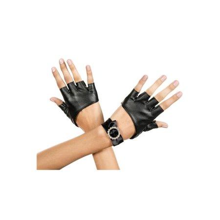 Metallic Fingerless Gloves with Rhinestone Wrist Band - - Metallic Gloves
