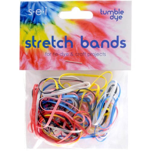 SEI Tie-Dye Stretch Elastic Bands, Multicolor, 50-Pack Multi-Colored