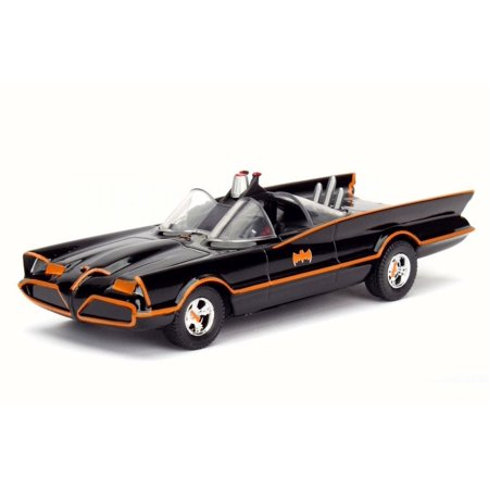 1966 Classic TV Series Batmobile, Black w/ Orange Stripes - Jada 98225W - 1/32 Scale Diecast Model Toy Car (Kids Batmobile Car)