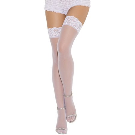 - Lace Top Thigh Hi Stockings 3 Colors Black Red or White