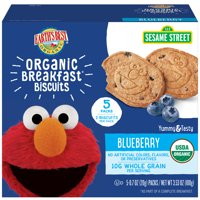 (2 pack) Earth's Best Organic Sesame Street Toddler Breakfast Biscuits, Blueberry, 5 Count Box, 3.53 oz