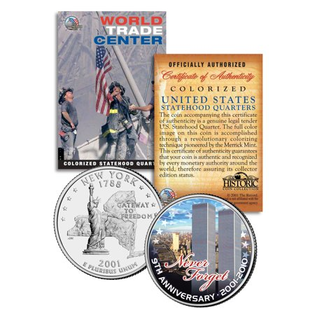 WORLD TRADE CENTER * 9th Anniversary * NEVER FORGET 9/11 NY Quarter US Coin WTC