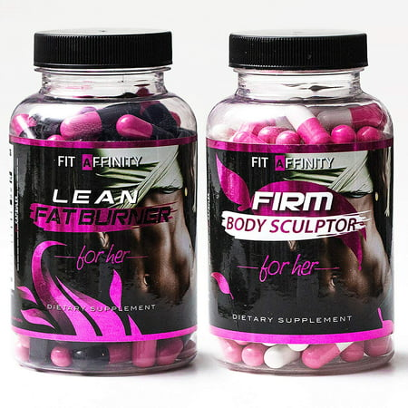 FIT AFFINITY Lean & Sculpted Bundle - Fat Burner for Women • Best All Natural Weight Loss Pills - Thermogenic Fat Loss Supplement & Appetite Suppressant Diet Pills - 90 Capsules (Each (Best Thermogenics For Females)