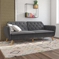 Novogratz Tallulah Sofa Bed in Velvet, Gray