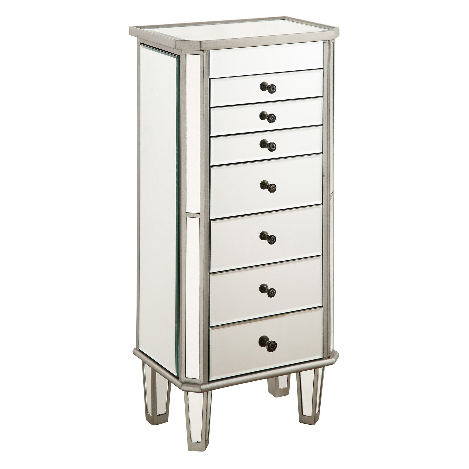 Great Elegant Lighting Danville 7 Drawer Mirrored Jewelry Armoire In Silver