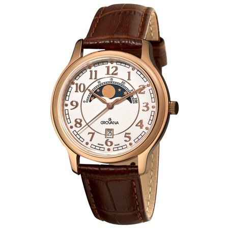 Grovana Men's 39mm Brown Alligator Leather Band Steel Case Swiss Quartz White Dial Analog Watch (Dial Brown Alligator)