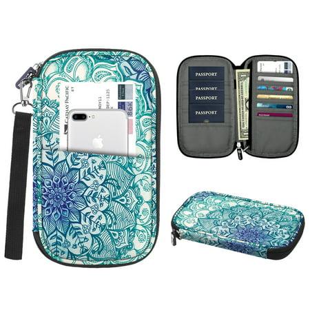 Family Travel Wallet Passport Holder, Fintie RFID Blocking Document Organizer Bag Case w/ Hand Strap Emerald Illusions - image 7 of 7