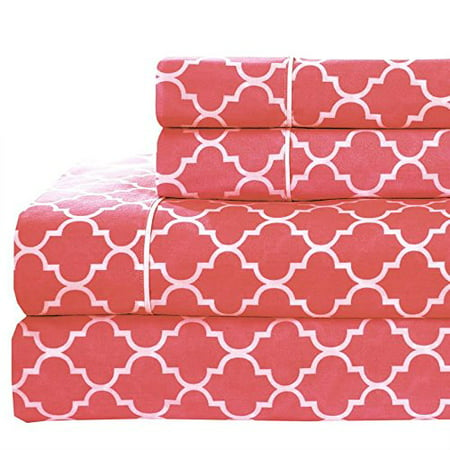 California Life Coral (California King size- Coral Printed Meridian 100% Cotton Percale 4pc Sheet set- Modern Reactive)