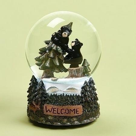 Large Musical Snowglobe - Welcome Black Bears Climbing Trees Musical Glass 100mm Glitterdome Snow Globe