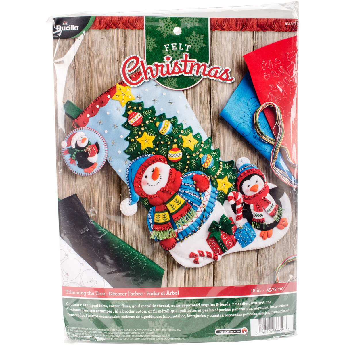 "Bucilla Felt Stocking Applique Kit 18"" Long-Trimming The Tree"