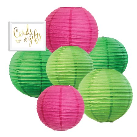 Andaz Press Blush Pink, Emerald Green, Kiwi Green Hanging Paper Lanterns Decorative Kit, 6-ct with Free Gifts Table Party Sign, - Paper Lanterns With Lights