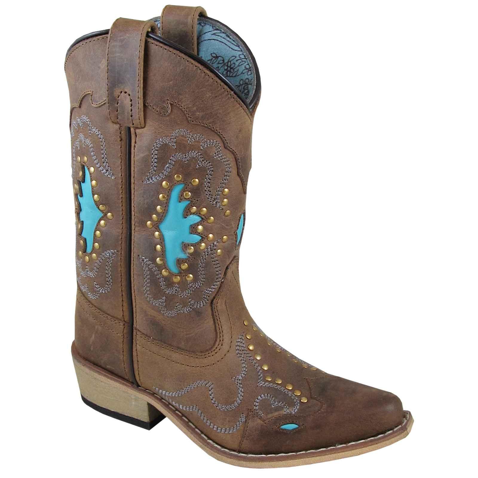 Smoky Mountain Girls' Moonbay Turquoise Inlay Cowgirl Boot Snip Toe - 3716C