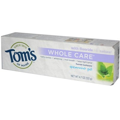 Tom's Of Maine Toothpaste Gel, Whole Care, Spearmint, 4.7 Oz