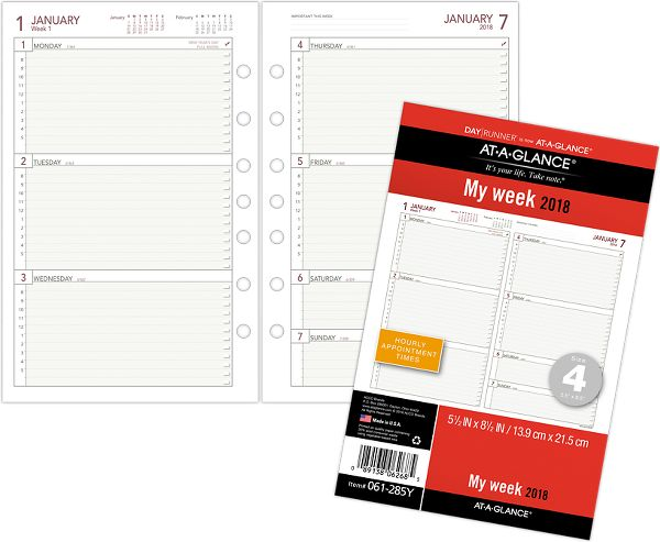 At-A-Glance Day Runner Weekly Planner Refill Size 4 Loose-Leaf Planner by Day Runner