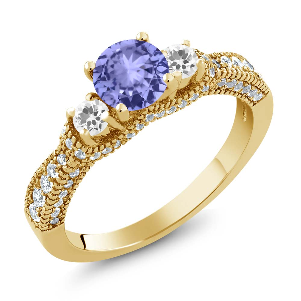 2.05 Ct Blue Tanzanite AAA White Sapphire 18K Yellow Gold Plated Silver Ring