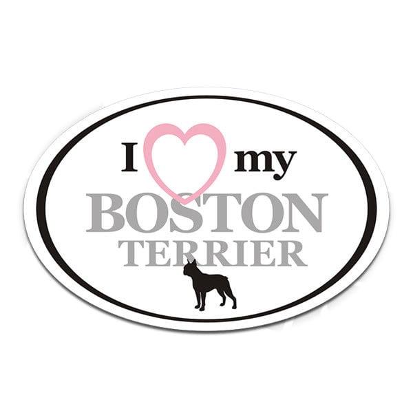 "Boston Terrier I Love My Dog Oval Euro Dogs Vinyl Car 4"" Gloss Sticker"