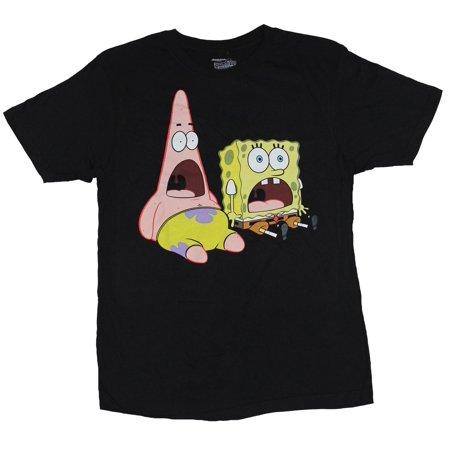 Spongebob Squarepants Pjs (Spongebob Squarepants Mens T-Shirt -  Screaming Sitting Patrick & Bob Image)