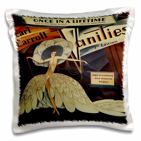 3dRose Once in a Lifetime Art Nouveau Style Song sheet Cover - Pillow Case, 16 by (Bed Intruder Song)