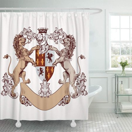 PKNMT Crest Heraldic in Vintage Style with Shield Armor Crown and Lions Animal Drawn Royal Shower Curtain Bath Curtain 66x72 inch (Lion And Shield)