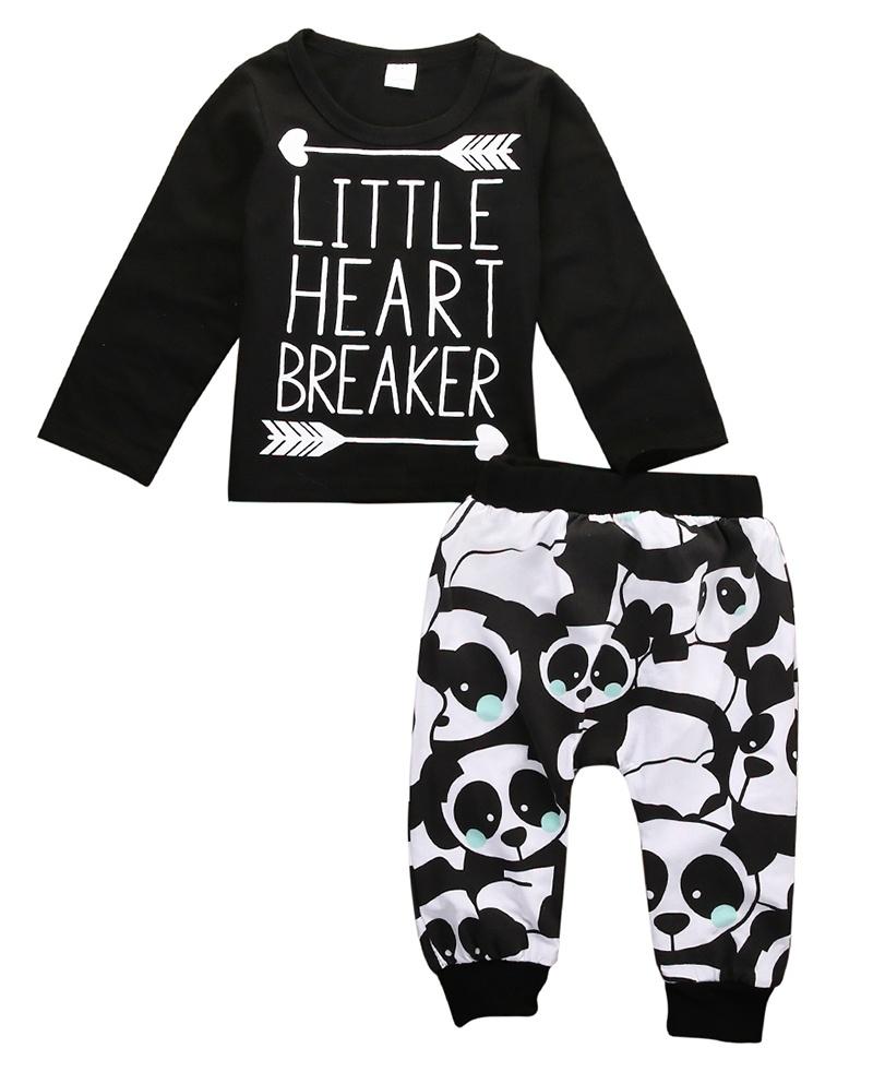 Newborn Infant Baby Little Boy Girl T-shirt Top+Pant Pandas Outfits Set Clothes
