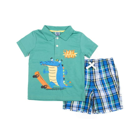 Roaring 20 Outfits (Short Sleeve Graphic Polo T-shirt & Plaid Drawstring Shorts 2pc Outfit Set (Baby Boys & Toddler)