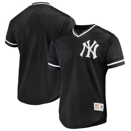 New York Yankees Mitchell & Ness Mesh V-Neck Jersey - Black
