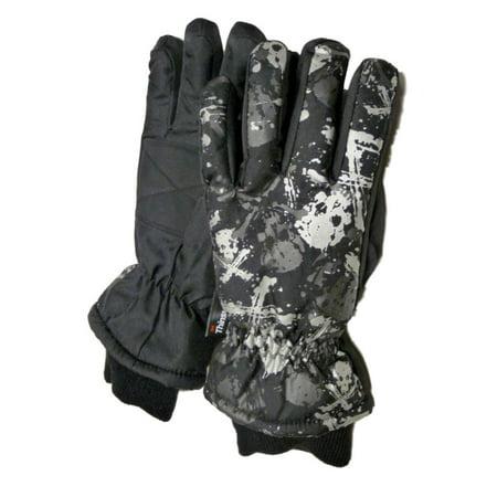 Aquarius Boys Black Skull Snow & Ski Gloves Thinsulate Insulated