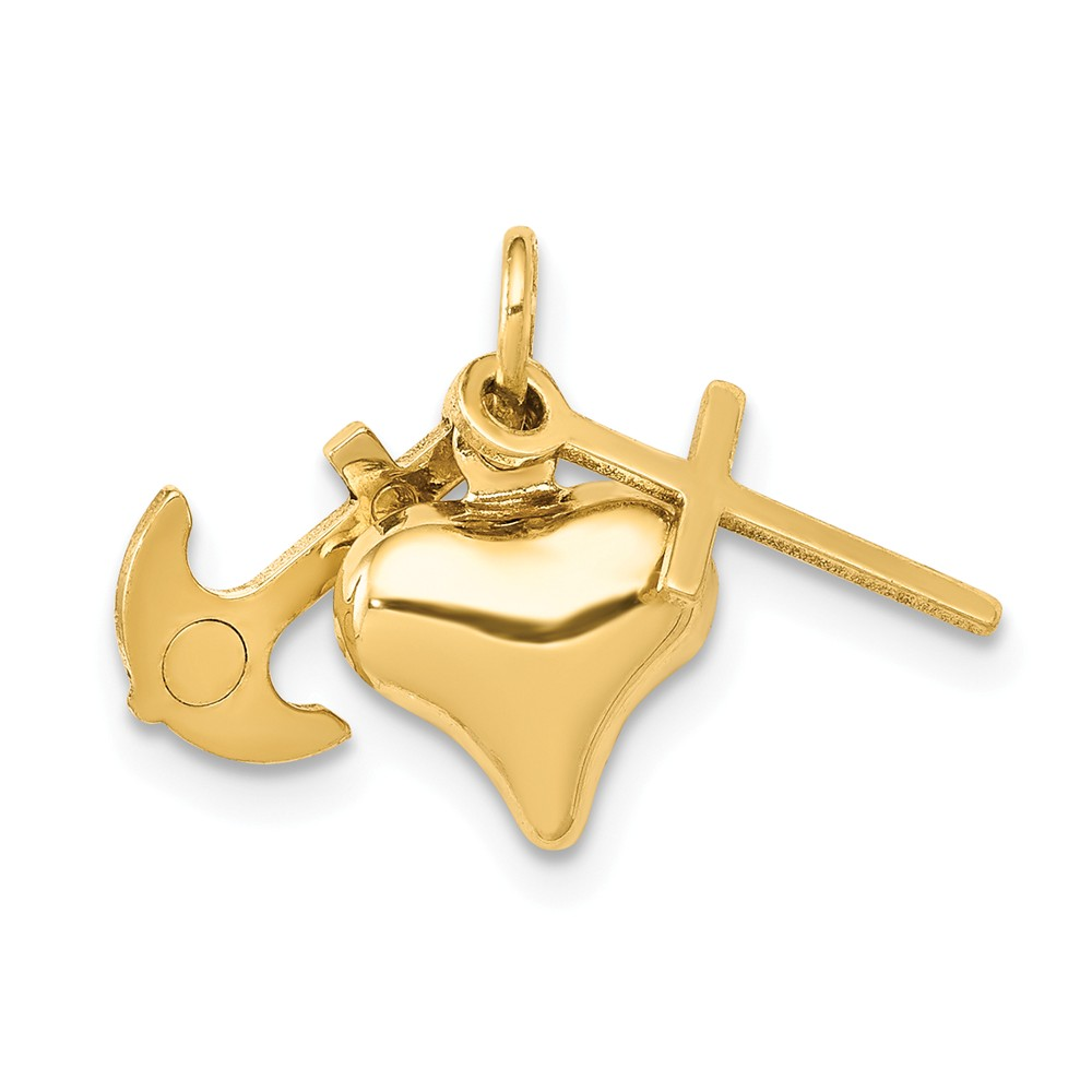 14k Yellow Gold Faith, Hope and Charity Charm (0.7in)