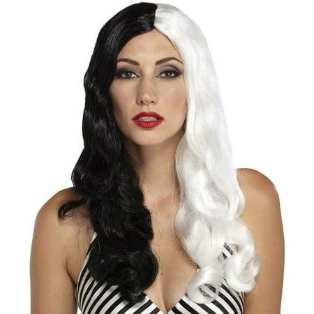 Sinestress Black and White Adult Halloween Wig - White Wigs Halloween