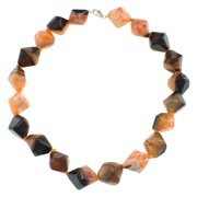 Pearlz Ocean  Orange Crystal Agate Cube Necklace