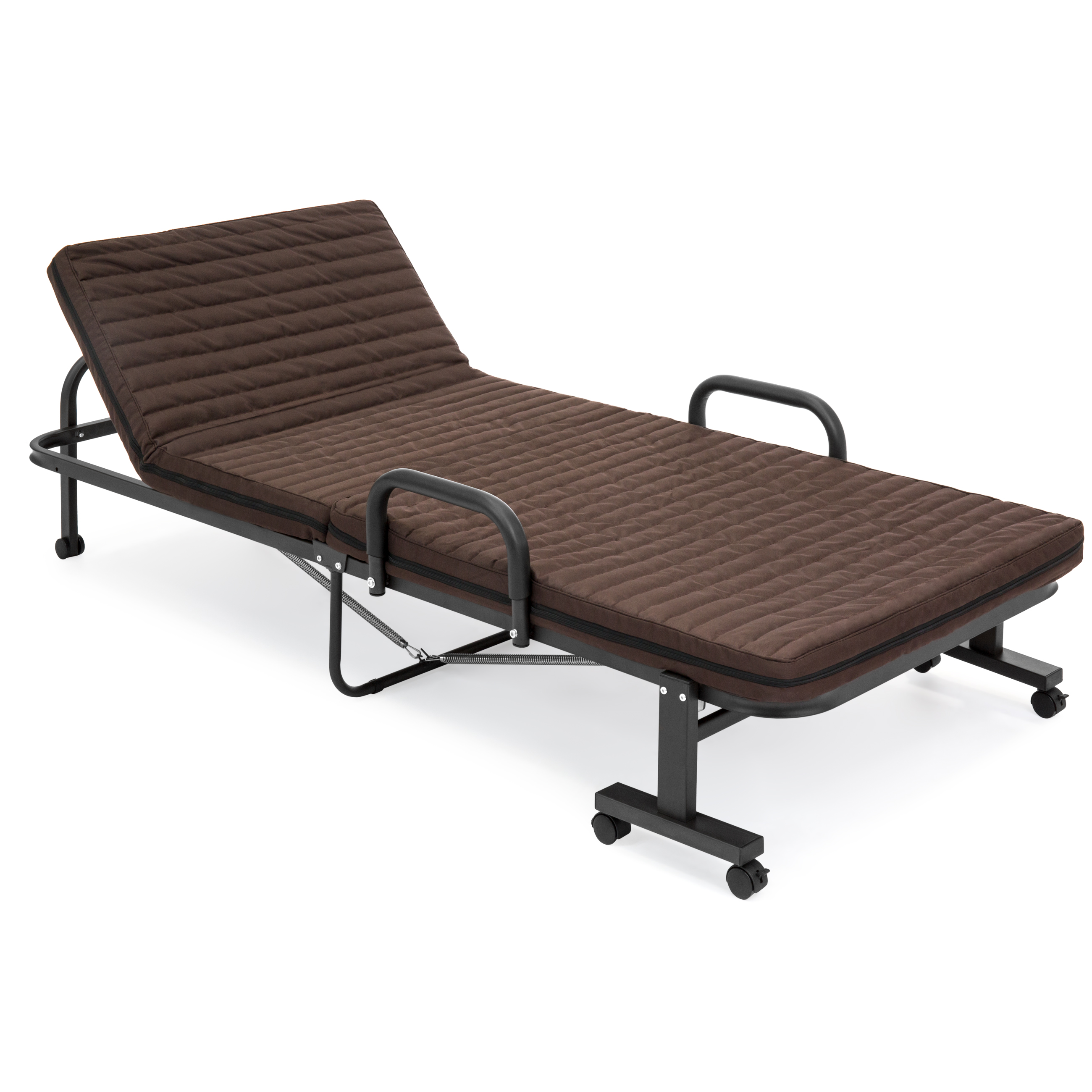 """Best Choice Products 74"""" Folding Twin Mattress w/ Portable Wheels Single Bed (Brown)"""