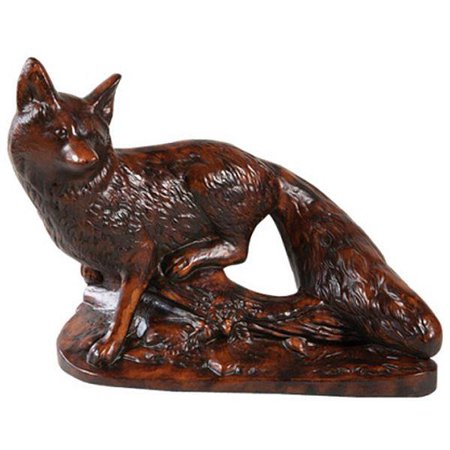 Mantle Mantel Clock Sly Standing Fox Large Cast Resin New Battery Operat OK-1515