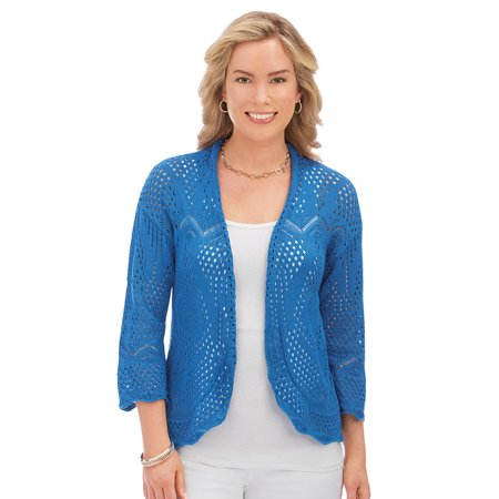 Women's Lightweight Pointelle Knitted Open Front Shrug with 3/4 Sleeves - Great Layering Piece for Outfit, X-Large, Blue