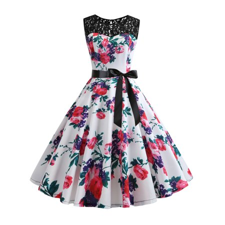 - UKAP Womens Summer Vintage 1950s Sleeveless Polka Dot Belt Rockabilly Floral Printed Prom Tea Party Dress Cocktail A-Line Swing Dress
