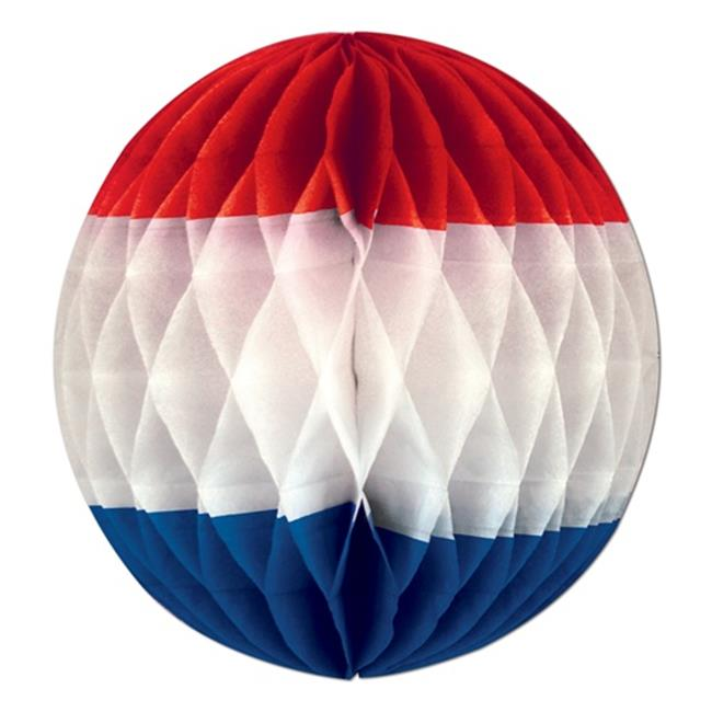 Beistle 54901-RWB Art Tissue Ball in Red  White and Blue - Pack of 12